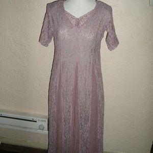 Vintage 90s LAVENDER LACE RAYON GRUNGE MAXI DRESS